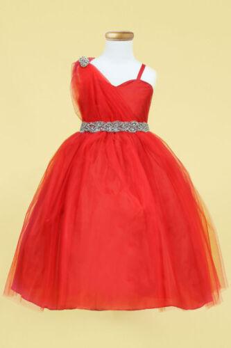 Pageant Flower Girl Wedding Formal Tulle Dress One Shoulder Strap sz 2-16 Red
