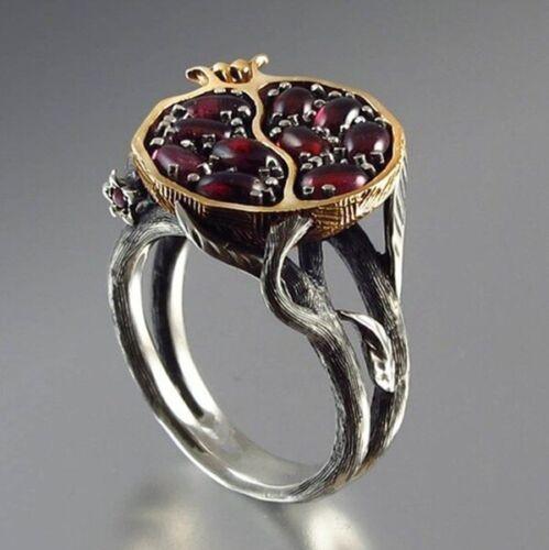 Vintage 925 Silver Gold Pomegranate Garnet Gems Wedding Ring Party Jewelry #6-10