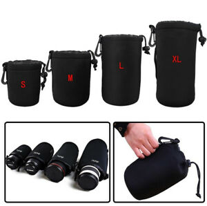 4X Neoprene DSLR Camera Lens Soft Pouch Protector Bag Case Set for Canon Nikon
