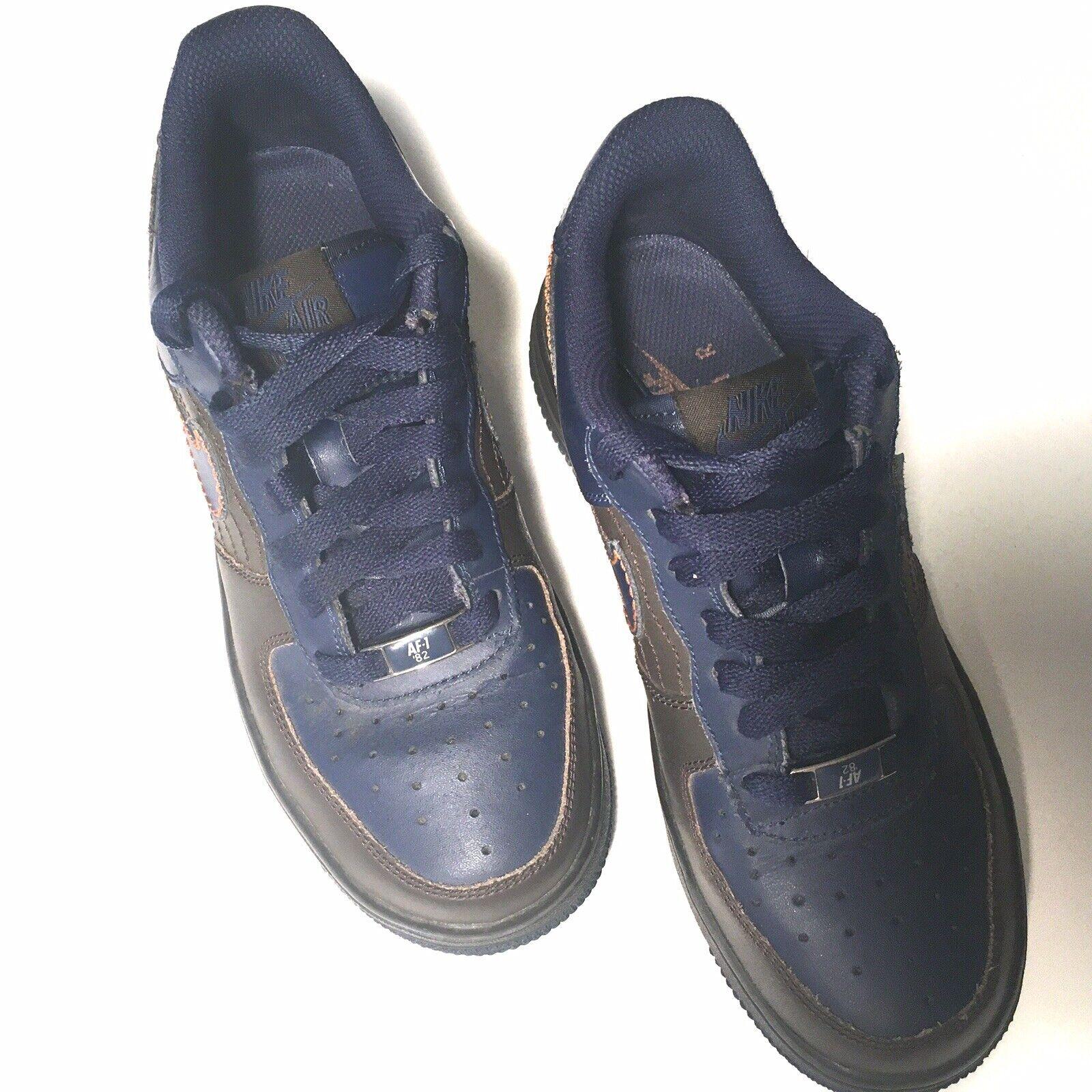 Nike Youth Air Force 1 Dark Cinder Blue Orange 82 Low Charles ...