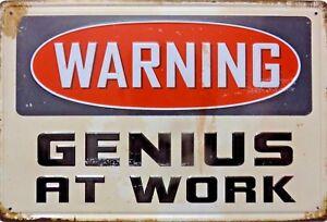 Platte-Metall-vintage-Warnung-GENIUS-AT-WORK