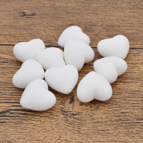 Coeur Silicone dentition Perles Safe Nursing bébé dentition collier bricolage jouet 10 pcs