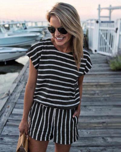 Women/'s Stripe Short Sleeve Mini Jumpsuit Summer Clubwear Casual Romper Playsuit
