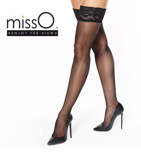 Miss O Silky 15 Denier Lace Top Hold Ups S305 4 Colour Choices 10cm Deep Tops