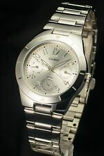 CASIO LTP-2069D-7 Ladies Analog Dress Stainless Steel White Watch 100% New NIB
