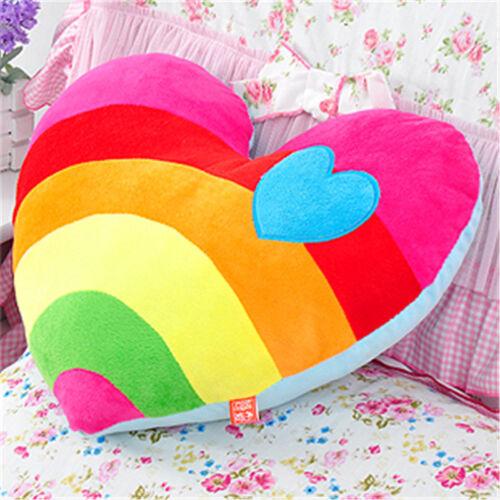 Hot Heart-Shaped Plush Rainbow Cloud Back Cushion Lovely Stuffed Pillow Doll Toy