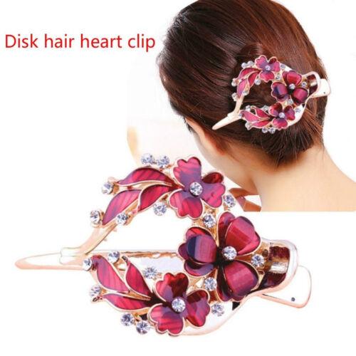 Crystal Metal Women Rhinestone Flower Hair Clip Flowers Hairpin Barrette N7