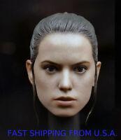 1/6 Daisy Ridley Head Sculpt Custom For Star Wars Rey Hot Toys Phicen Body ❶USA❶