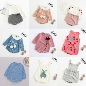 317433a3a9900 Image is loading Winter-Toddler-Newborn-Baby-Warm-Knit-Romper-Bodysuit-