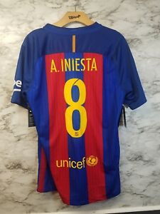 61f4ac46bba NIKE ANDRES INIESTA #8 FC BARCELONA HOME SOCCER JERSEY 2015/16 NWT ...