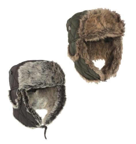 Nouveau Bonnet Hiver avec Faux Fur Armée Militaire à Olive /& Noir Taille S-XL