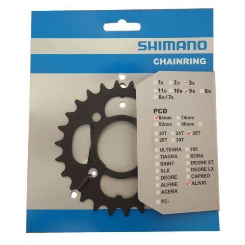 Chainring 26 t Shimano noir 26 T FC-M431-8 9 Vitesse MTB Bike Inner Y1M298010