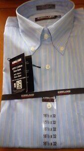 Blue striped Mens Dress Shirts Button Down Spread Collar 100% no Iron 16.5 32