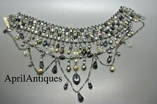 Vintage French Couture black faceted glass drop bib choker necklace