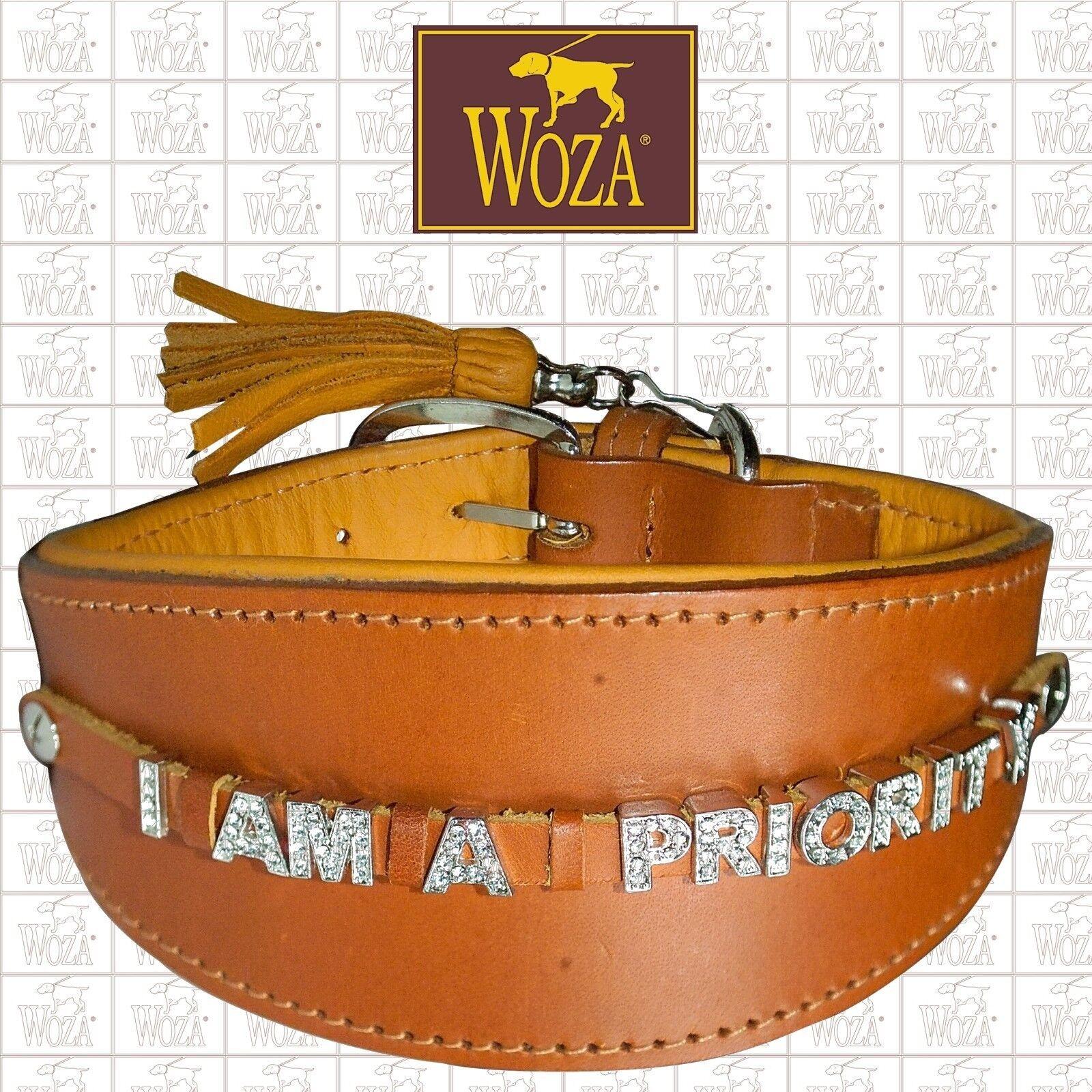 WOZA Premium Greyhound Collar Full Leather Padded Soft Cow Napa Handmade HDF663X