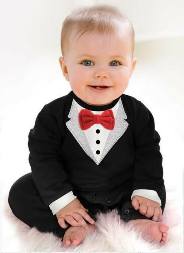 Toddler Baby Boys Dress Gentleman Romper Jumpsuit Bodysuit Kids Clothes Outfit