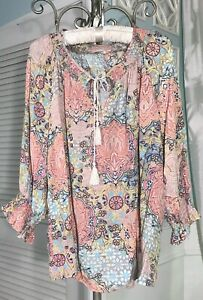 NEW-Plus-Size-2X-3X-Blue-Peach-Floral-Paisley-Spense-Boho-Peasant-Blouse