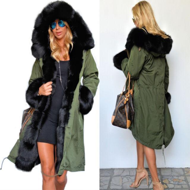 Women Winter Warm Thick Hood Faux Fur Coat Parka Long Jacket Overcoat Size 8-20