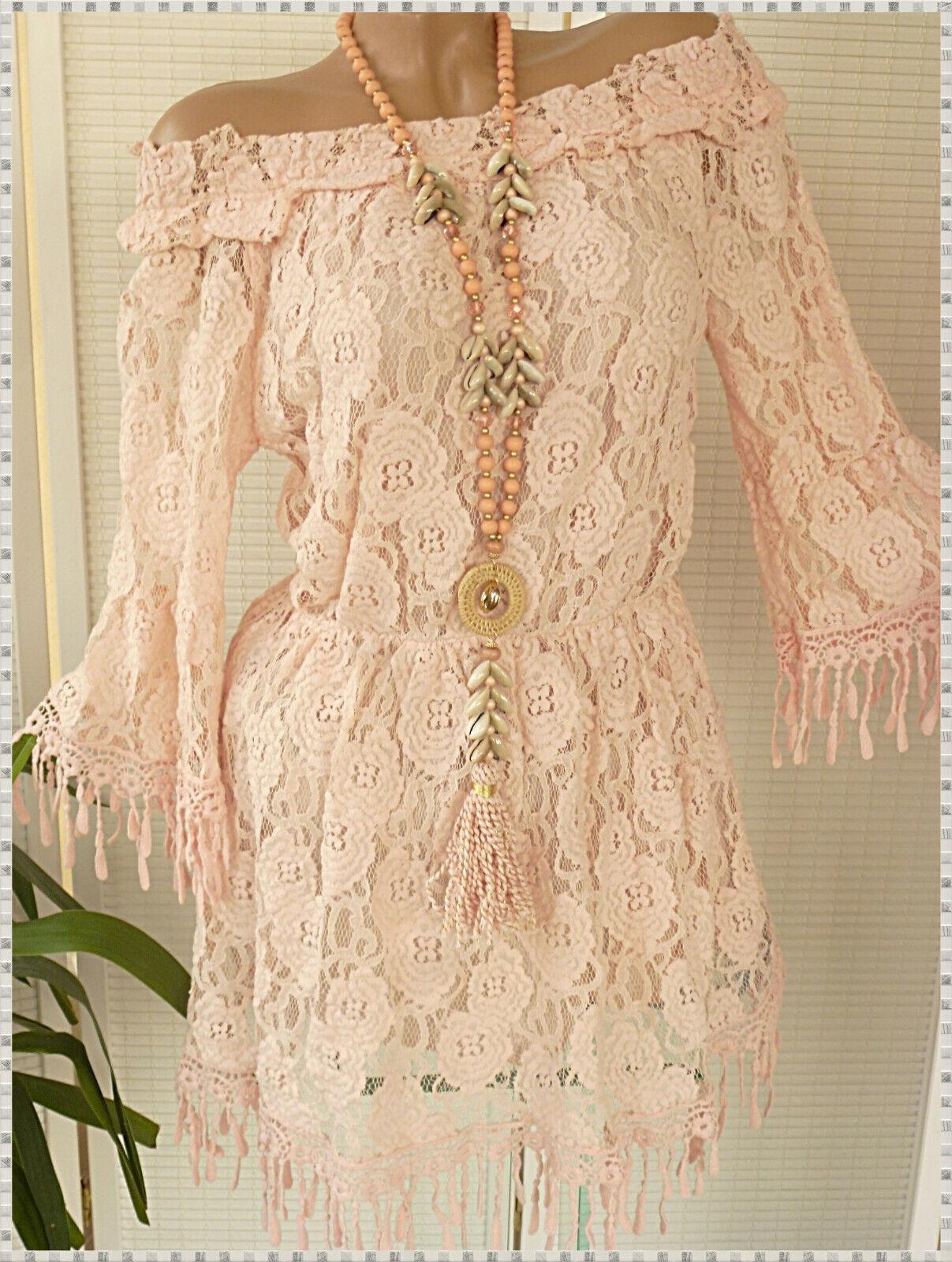 36 38 38 38 40 schöne Spitzen Tunika Kleid mit Fransen Carmen Ibiza Rosa