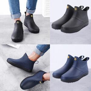 mens rubber rain shoes wellingtons wellies slip on ankle