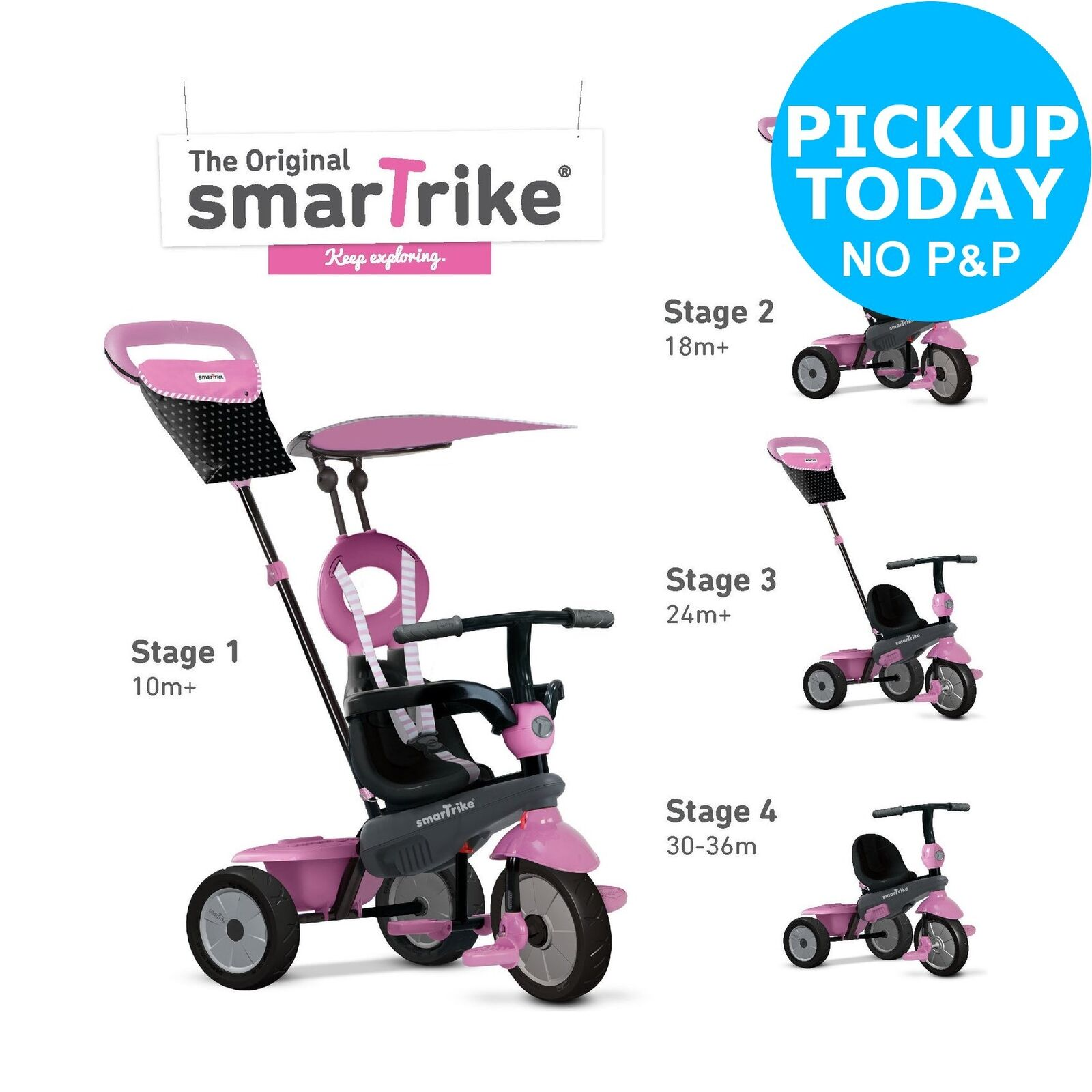 SmarTrike 4-in-1 Vanilla Tricycle - Pink.