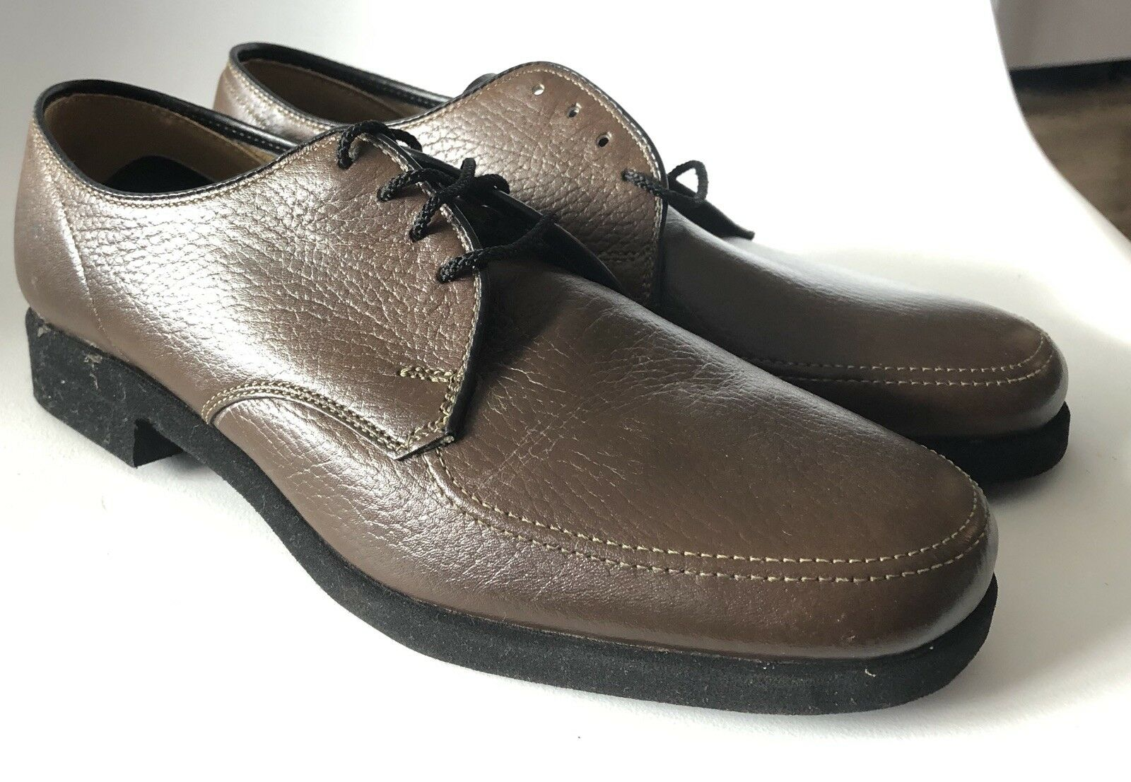 Hush Puppies 8 W USA Vintage Brown Pebbled Leather DUKE Oxfords Dead Stock