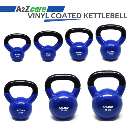 A2ZCare Vinyl Coated Kettlebell For Cross Training Swing 5,10,15,20,25,30,35 lbs