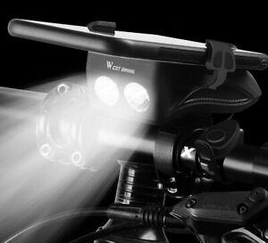 4 in 1 Bicycle Light Flashlight Bike Horn Alarm Bell Phone Holder Power Bank