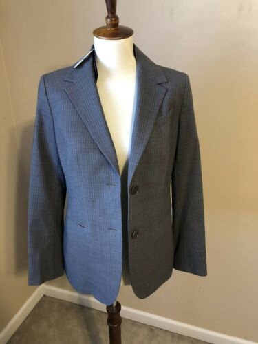 NWT Talbots 6 PETITE business jacket gray pinstripe 2 buttons dry clean MSRP 209