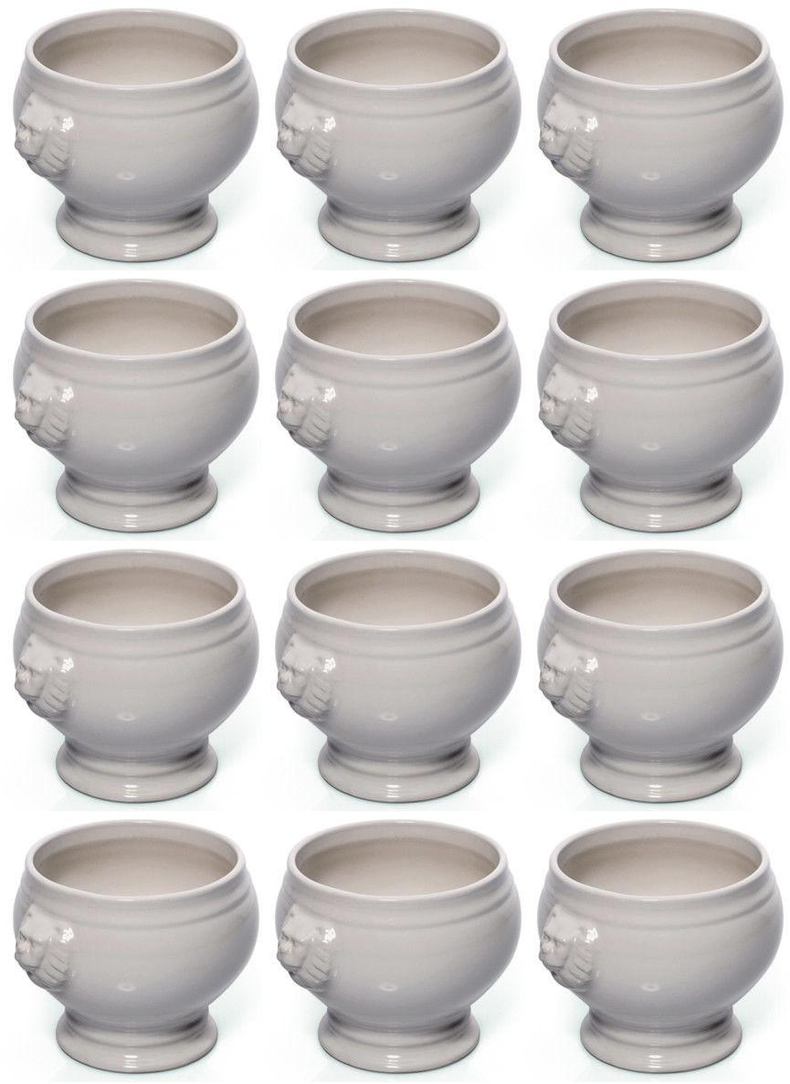 12er Set Leone Testa ZUPPIERA, minestre Zuppiera, Porcellana, Bianco, 1 L..