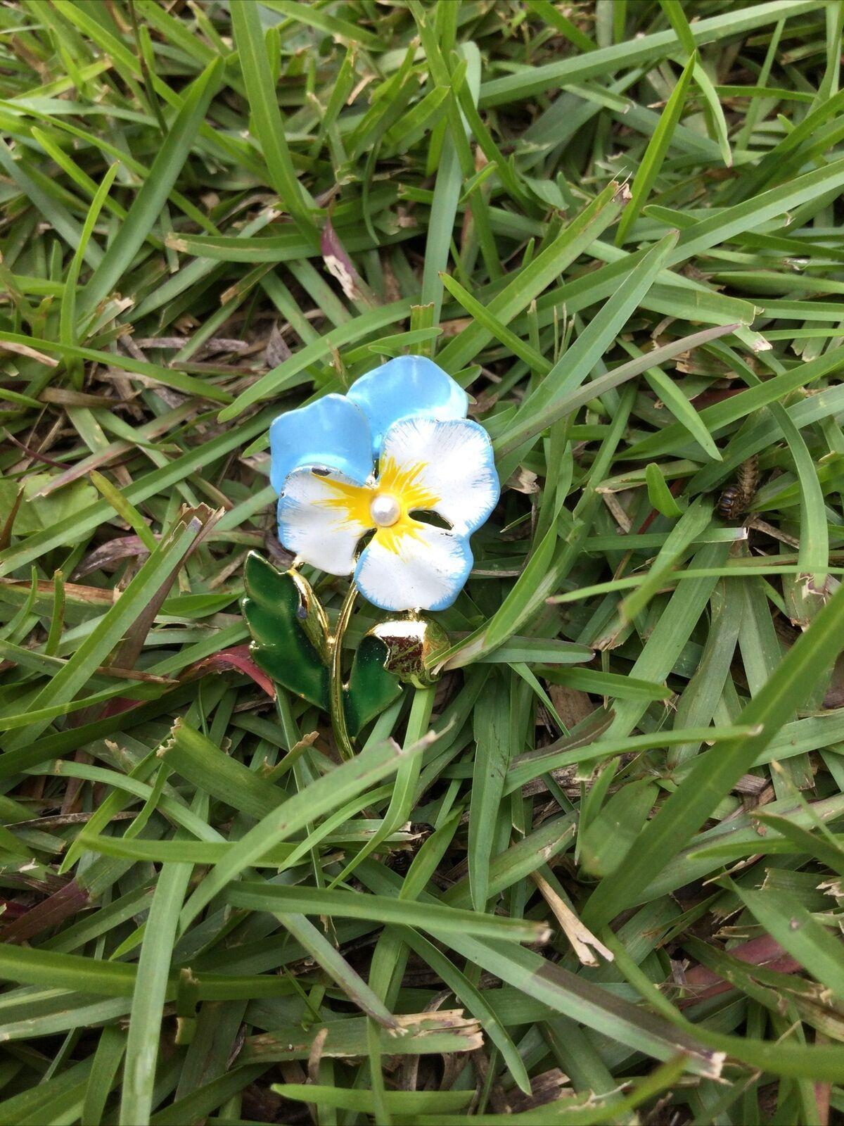 Delicate Enamel Baby Blue Pansy Brooch By GERRYS,… - image 1