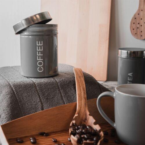 Recipiente de metal de Café Botes Cocina Seguro De Goma Sello Gris