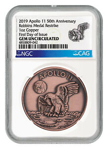 Exploration Missions Symbol Of The Brand 1969-2019 Apollo 11 Robbins Medals 1 Oz Copper Medal Ngc Gem Unc Fdi Sku55305 Limpid In Sight Exonumia