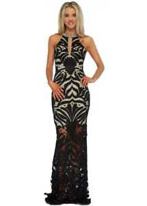 c97400fc97b3 Pia Michi Black & Nude Sheer Lace Beaded Halter Neck Evening Dress ...