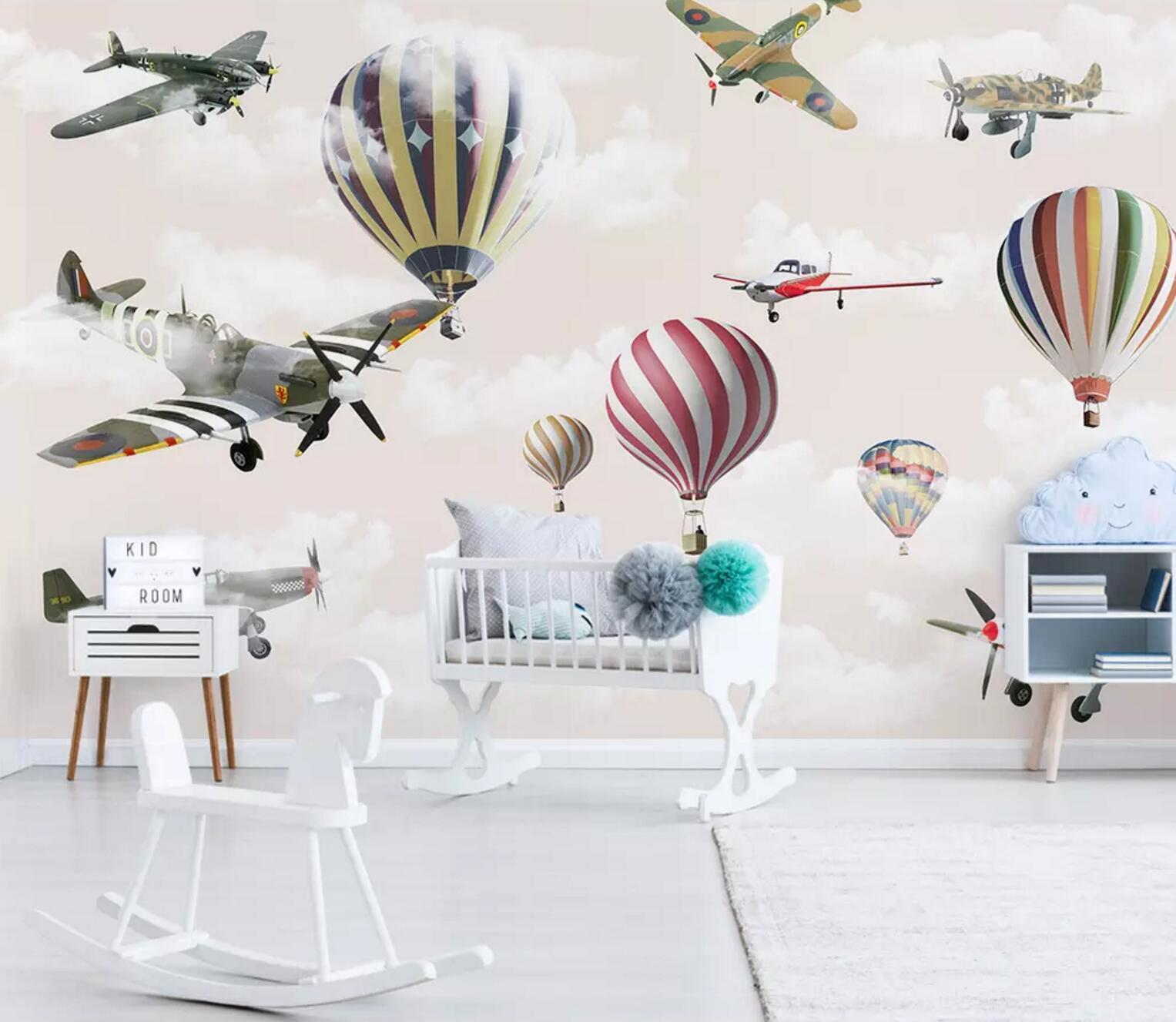 3D Airplane Balloon 8 Wall Paper Exclusive MXY Wallpaper Mural Decal Indoor Wall