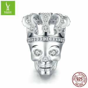 925-Sterling-Silver-Charms-Beads-Women-Girls-Fashion-Pendant-Skull-with-Crown