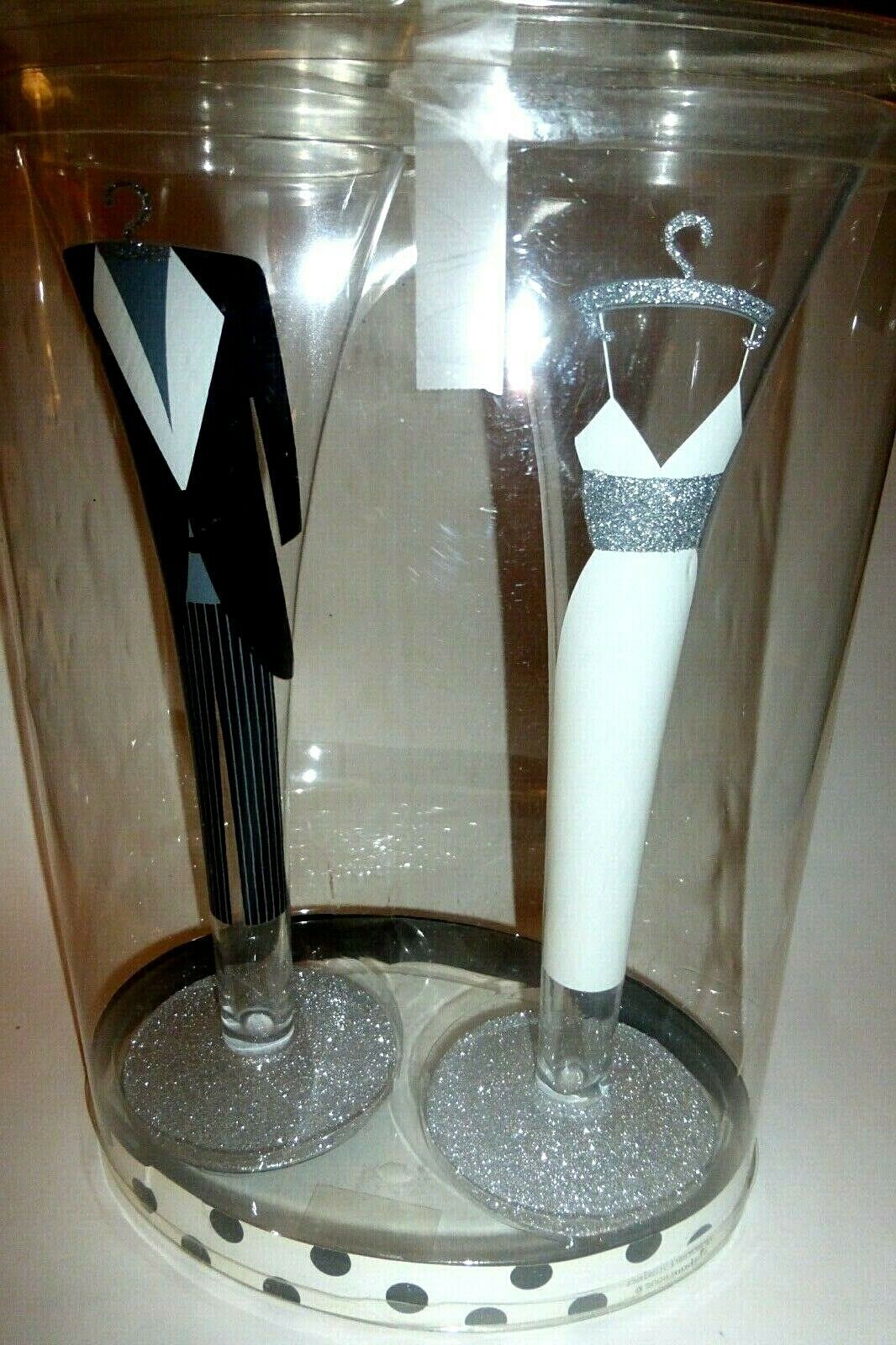 Collectible WEDDING Champagne TOASTING GLASSES hand painted BRIDE GROOM 10  Tall