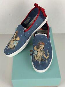Toms-Disney-Deconstructed-Alpargata-Snow-White-Print-Blue-with-Bow-New-NIB