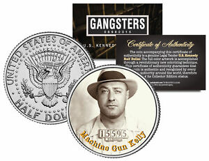 MACHINE-GUN-KELLY-Gangster-Kidnapper-JFK-Kennedy-Half-Dollar-US-Colorized-Coin