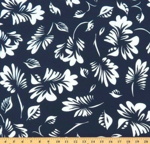 ITY Knit Deepest Navy with White Scattered Leaves designer Maggy London