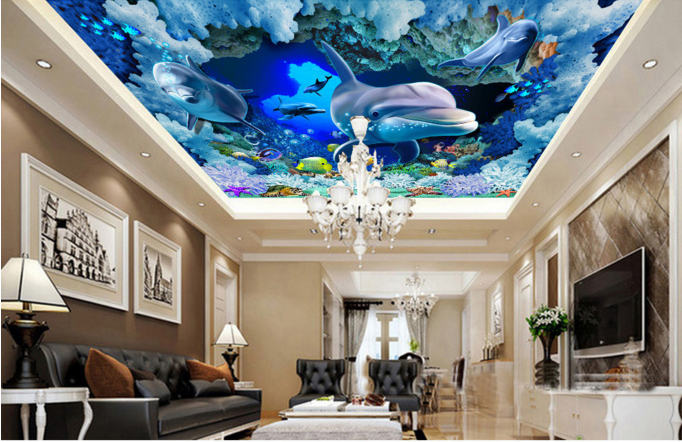 3D Dolphin Sea 58 Ceiling WallPaper Murals Wall Print Decal AJ WALLPAPER US