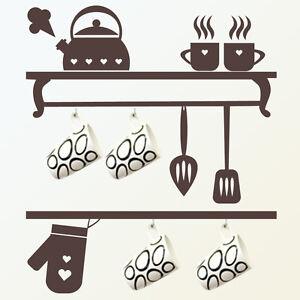 wall stickers adesivo per muri frigo vetri cucina utensili tazze ...