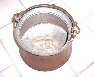 Vintage-Antique-Copper-Witch-039-s-Cauldron-Kettle-Pot-with-Handle-Large-9-034-Wide