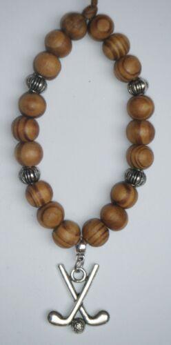 In Car Hanging Hockey Sticks /& Ball Pendant Charm /& Wood Wooden Beads Souvenir