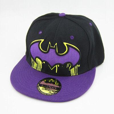 New DC Comics Purple Black Adjustable Snapback Batman Hat cap flat baseball hat