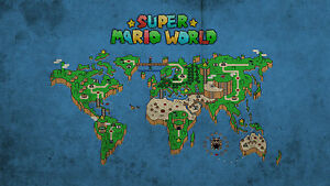 Details about Super Mario World Map - Wall Poster - Huge - 24 in x 15 in -  Fast shipping 103