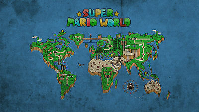 Super Mario World Map - Wall Poster - Huge - 22 in x 34 in - Fast shipping  103