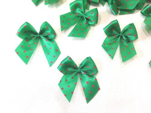 50 Lunares Rojo Verde Arco de la cinta de regalo Mini tarjeta de Navidad Scrapbook Manualidades Hágalo usted mismo