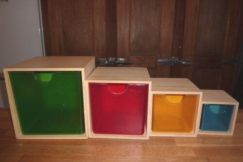 lot de boîtes tiroirs IKEA PS en bois bambou et plastique déco design scandinave