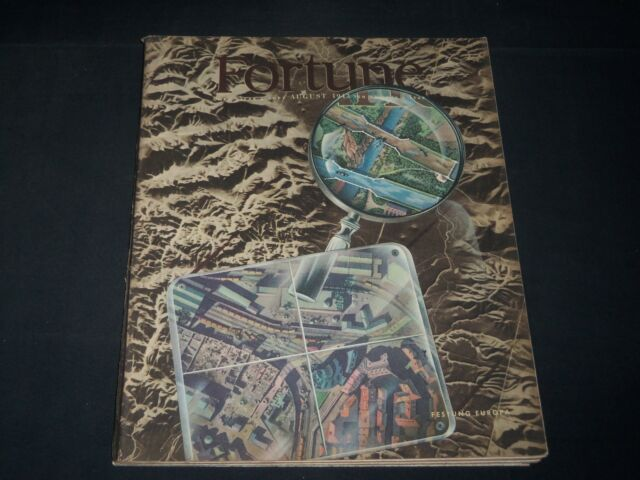 1943 AUGUST FORTUNE MAGAZINE - BEAUTIFUL ILLUSTRATED FRONT COVER - O 11825